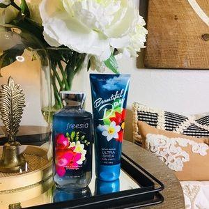 Bath and body freesia gel & wonderful day cream